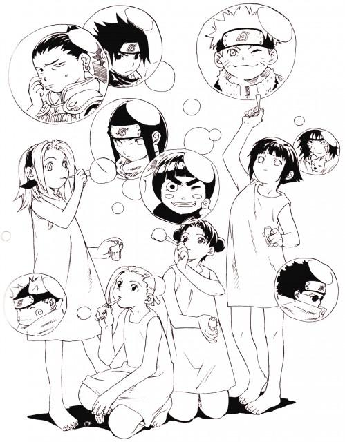 Naruto, Tenten, Kiba Inuzuka, Akamaru (Naruto), Shino Aburame