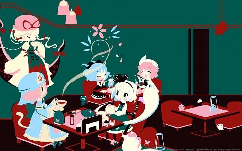Touhou, Yuyuko Saigyouji, Youmu Konpaku, Byakuren Hijiri, Vector Art Wallpaper