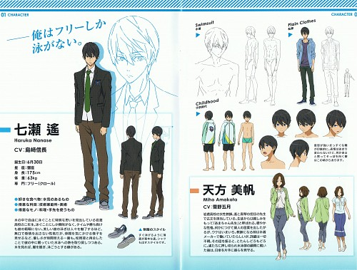 Kyoto Animation, Free!, Haruka Nanase (Free!), Miho Amakata, Character Sheet
